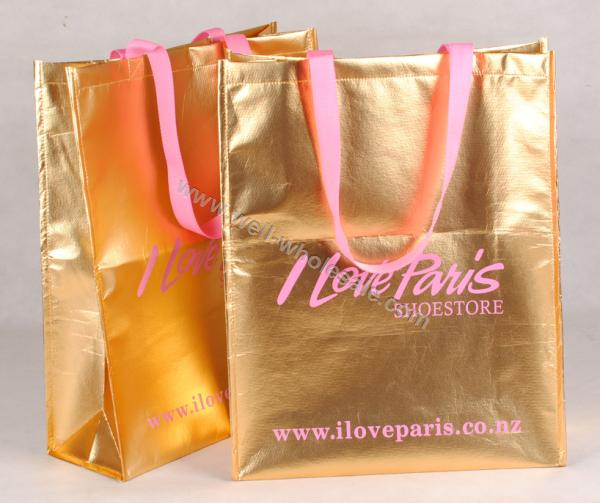 shopping bag with gold lamination