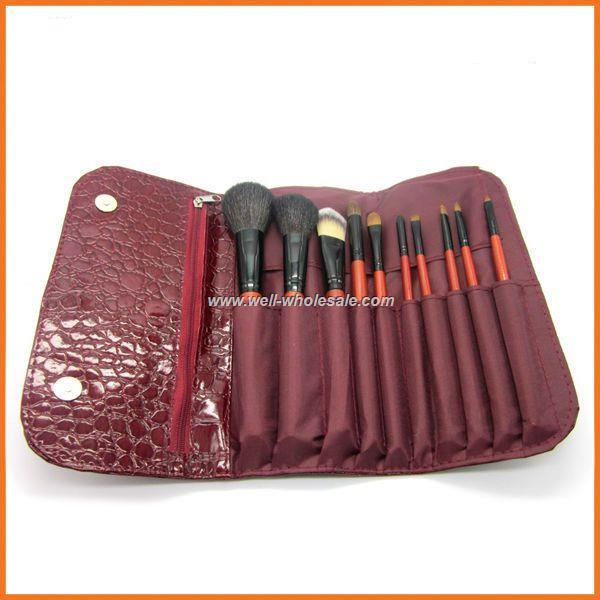 Purple 10 Pcs Make Up Tools, Travel Makeup Brushes