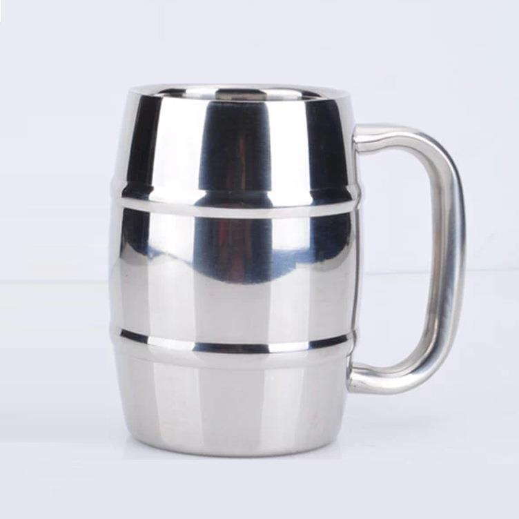 Double stainless steel beer mug 14 oz