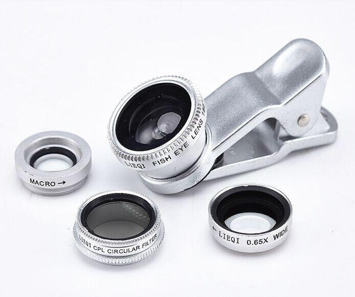 Multifunction 4 in 1 CPL filter 0.65x wide angle +macro +fisheye camera lens for apple 6 Polarized lens with factory
