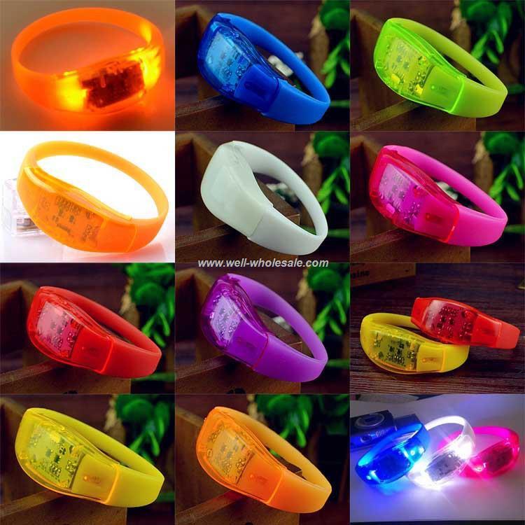 LED flashing sound activation bracelet silicone rfid remote controlled LED bracelet
