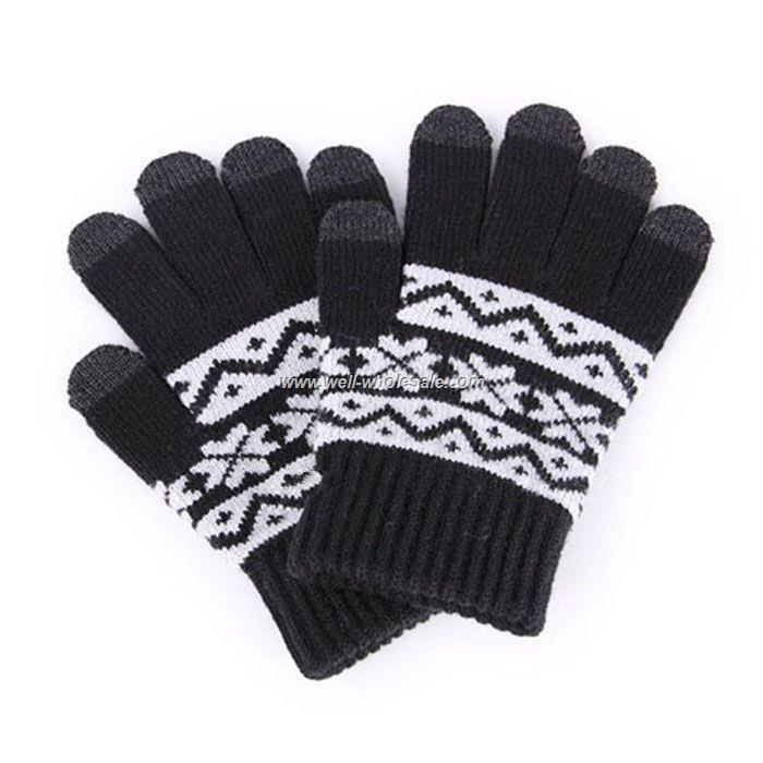 Black white snowflake gloves