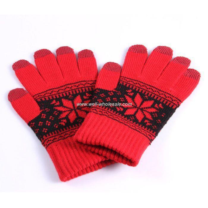Red black Diamond pattern ipad touch gloves