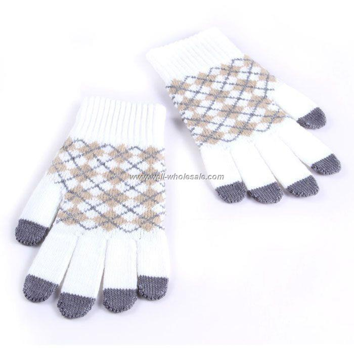 Diamond white/camel pattern ipad touch gloves