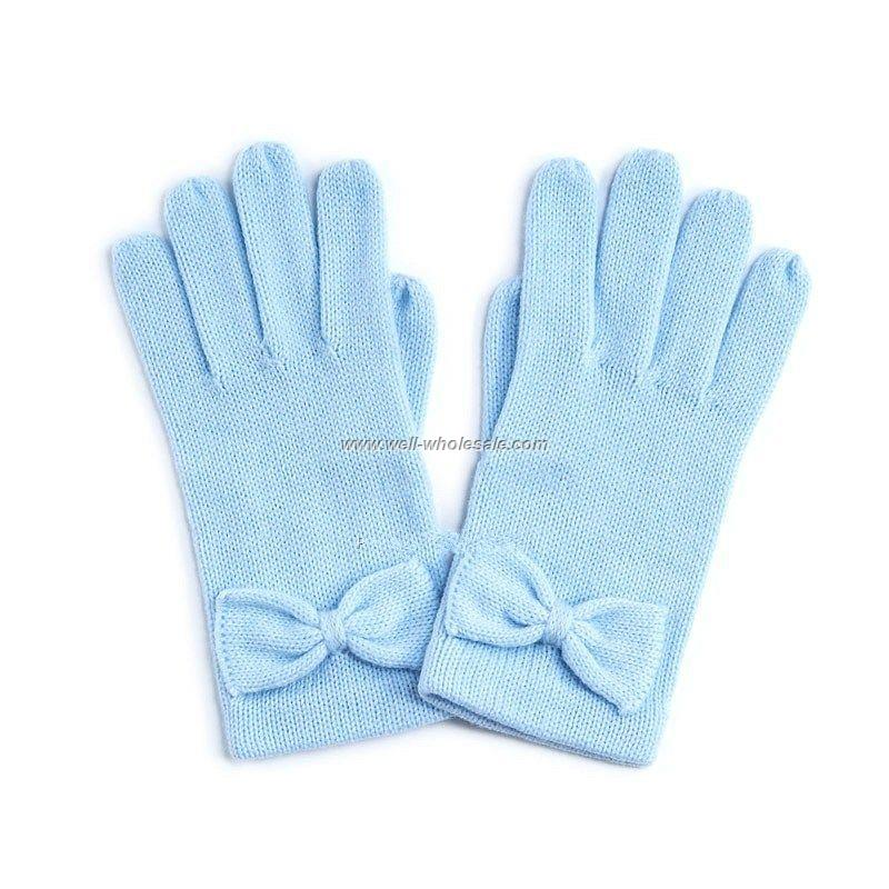 Cute skyblue bow gloves