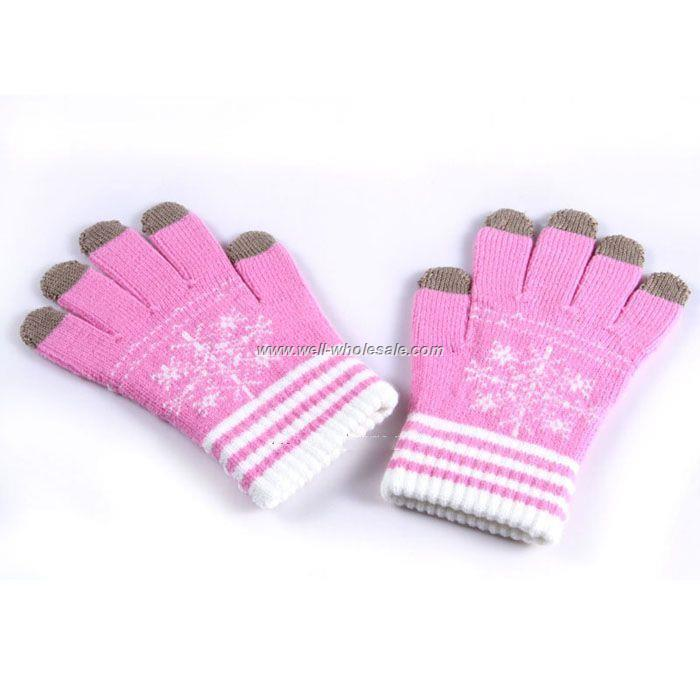 PINK WHITE WINTER WARM GLVOES