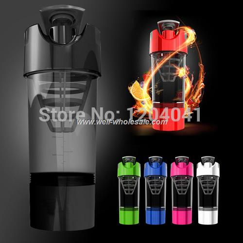 2015 New Cyclone Cup 600ml Multifunction Mixing Sports Fitness Bottle Fashion 3+1 Protein Convenient Shake Hurricane Bottl