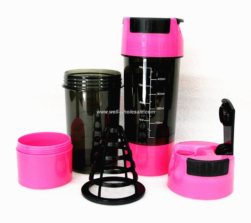 2015 Hot 3 in 1 Protein Cup Sports Water Bottle Pink 600ml Protein Shaker