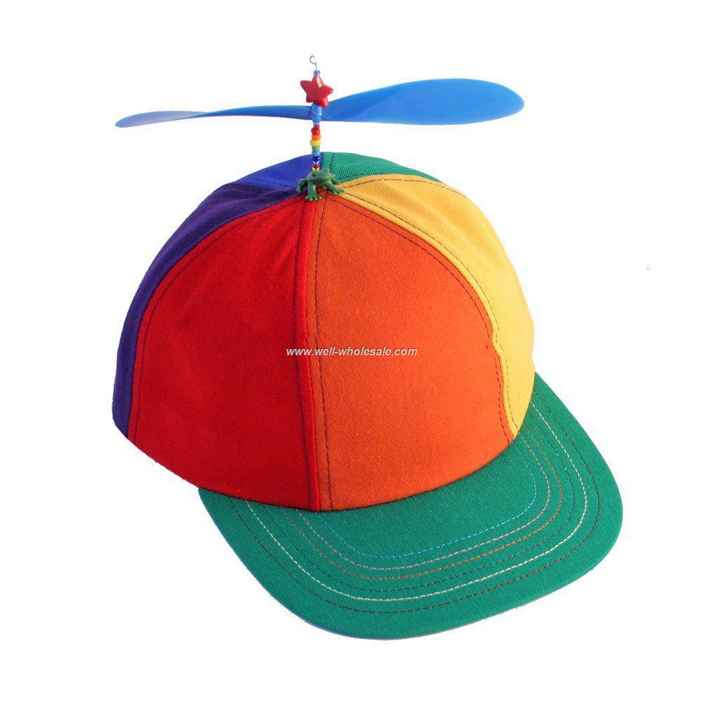 Multi-color cotton propeller cap with elastic back