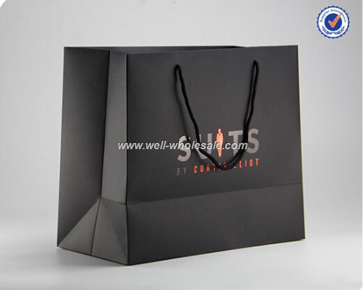 factory supply black kraft paper carry bag