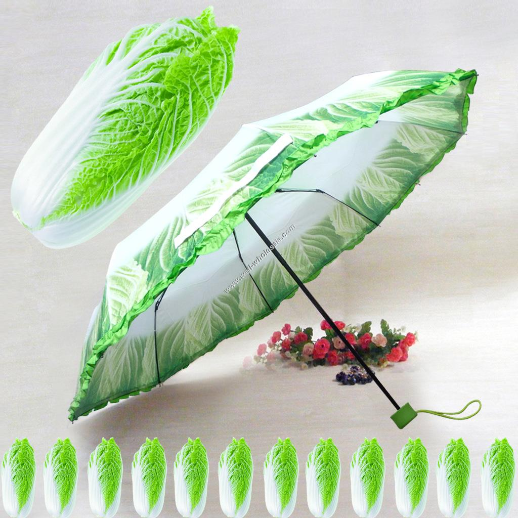 vegetable 3 fold umbrella for fruit style