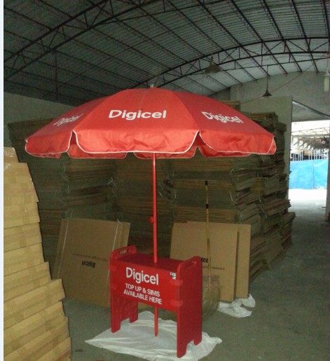 jumbo umbrella with small customized foldable/portable plastic table