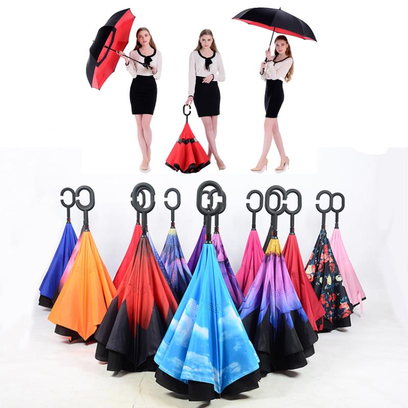 Wholesale Double-deck Printing Reverse Umbrella