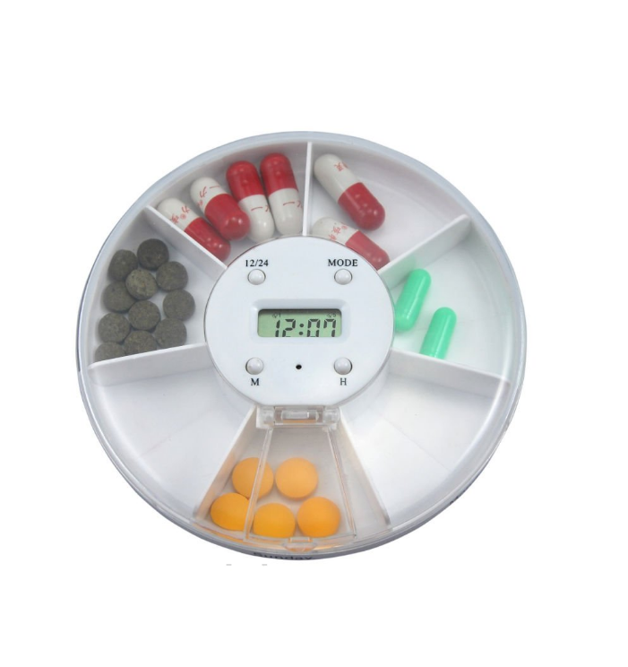 Round 7 Compartments Pill Box Reminder Box With LCD Alarm Lock