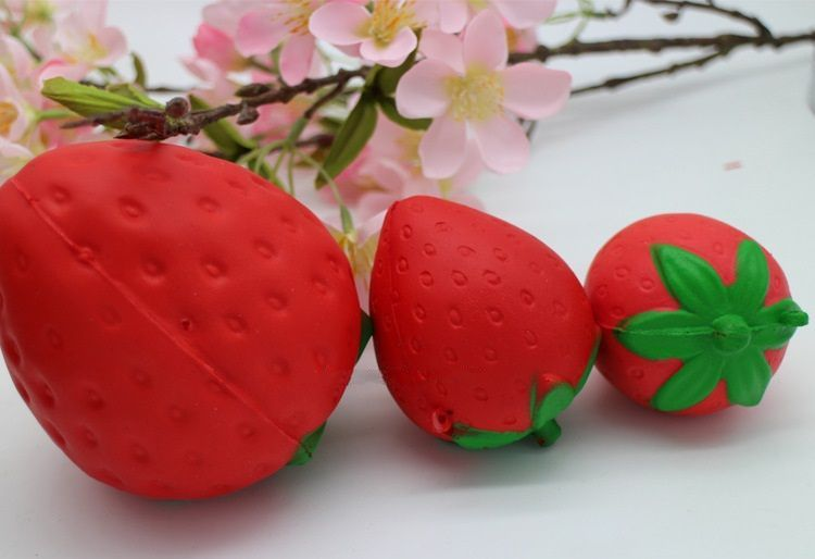Cute Strawberry Squishy Slow Rising Sweet Cream Scented PU Stress Ball Decompression Toy