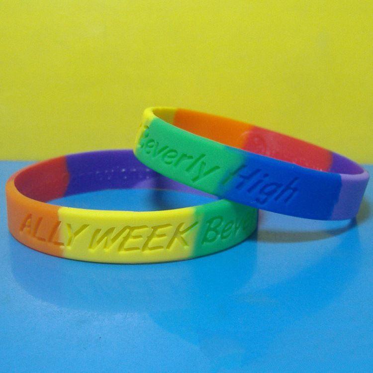Silicone Colorful Wristband Gay Lesbian LGBT Rainbow Pride Bracelet