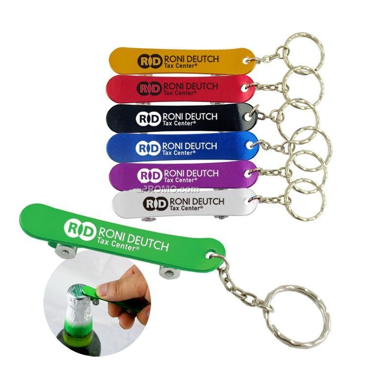 aluminum skateboards bottle opener key chain with laser logo