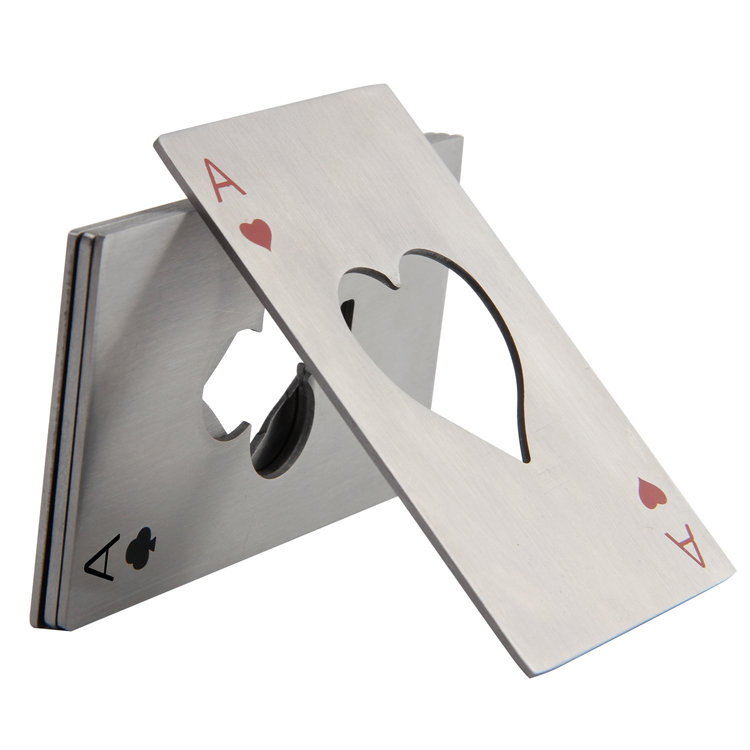 Stainless Steel Playing Card Ace of Spades Poker Bottle Opener