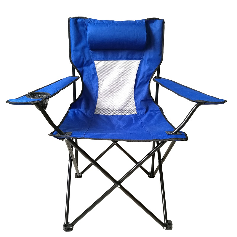 Outdoor Mesh Folding Chair Camping with Pillow Cup Holder Mesh Camping Folding Chair