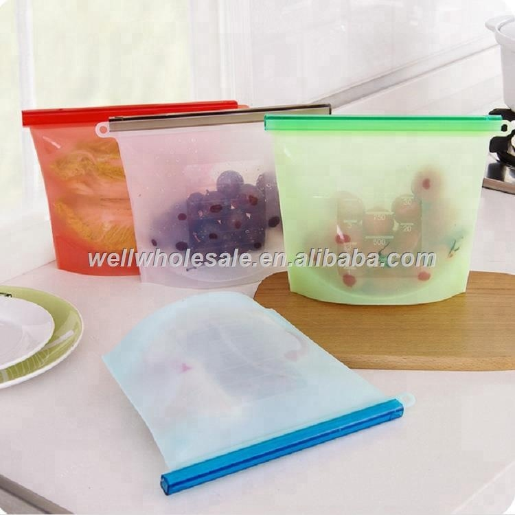 Reusable Silicone Food Storage Bag Washable Silicone Fresh Bag for Fruits Vegetables Meat Preservation