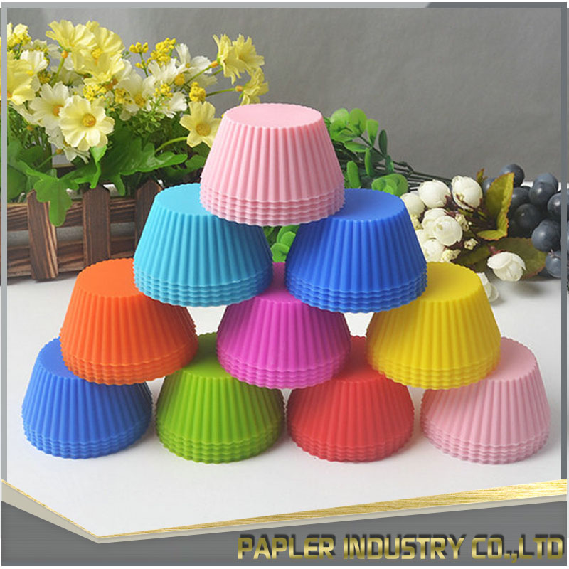 Reusable Non-stick Silicone Baking Cups Round dessert cups Cupcake Liners