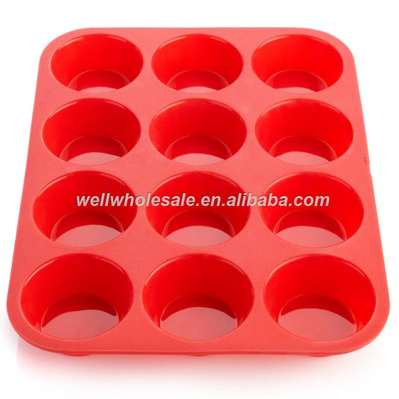 Silicone Muffin Pan -12 Cups Mold & Baking Tray- Reusable, Non-Stick Bakeware - Heat Resistant