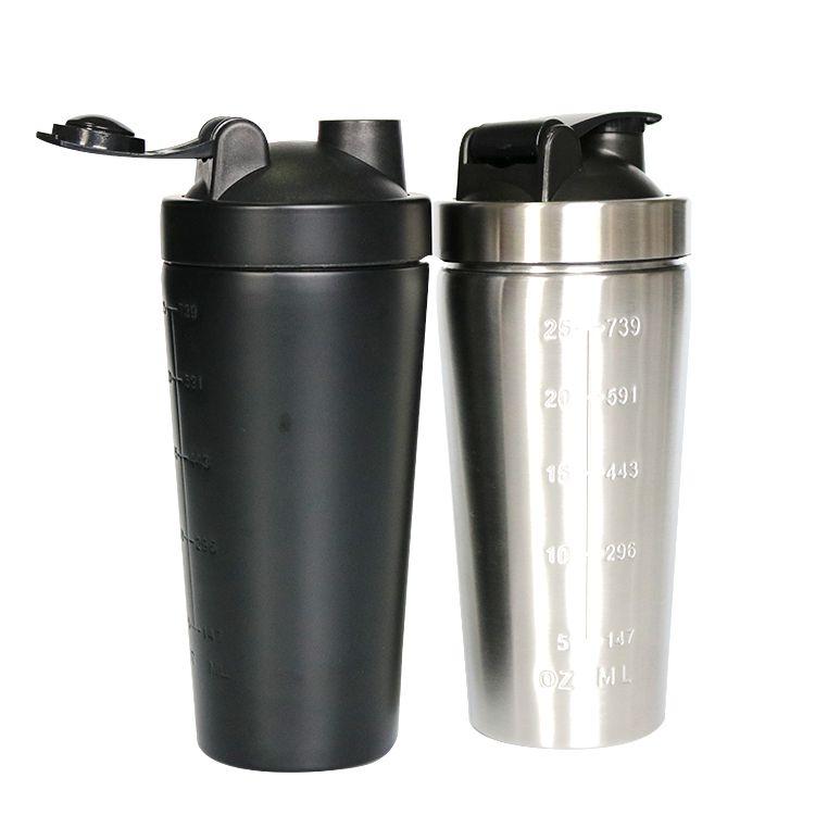 stainless steel protein blender shaker bottle