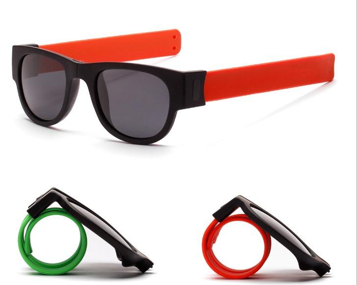 Sport clip folding promotion slap sunglasses with polarized
