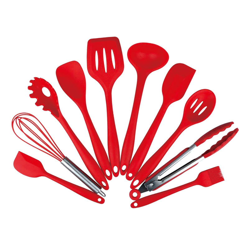 10 piece kitchen tool set non-stick heat resistant silicone kitchen cooking utensil set