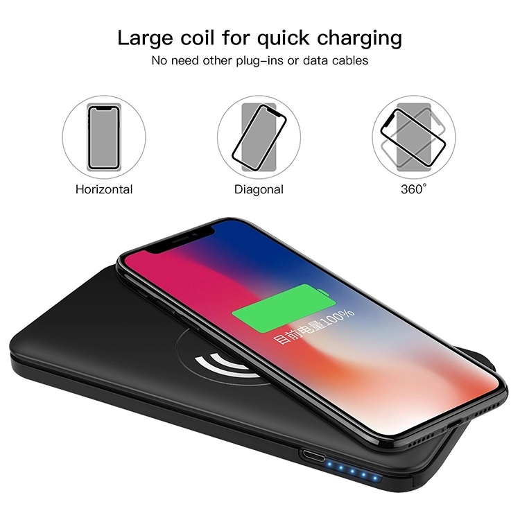 2 in 1 Portable Charging Qi Wireless Power Bank 10000mah