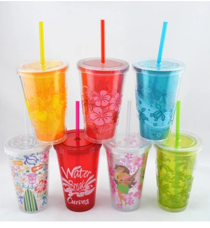 beverage cup reusable PS plastic up 450ml 650ml customized color changing logo magic plastic cup with lid and straw