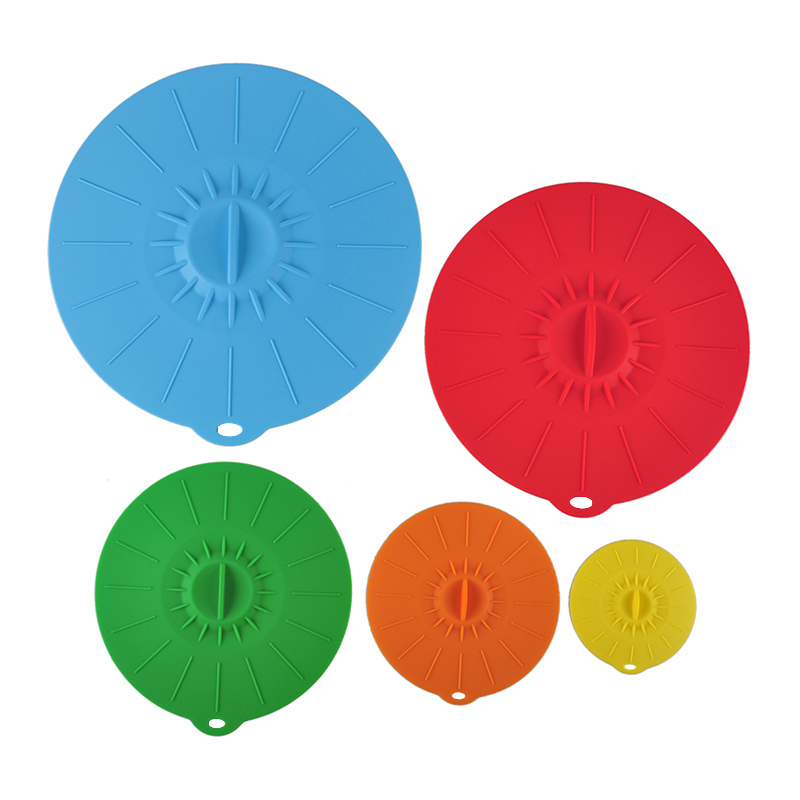 Silicone Spill Stopper Lid Sets of 5 Pressure Cooker Seal Silicone Cover For Pan Pot