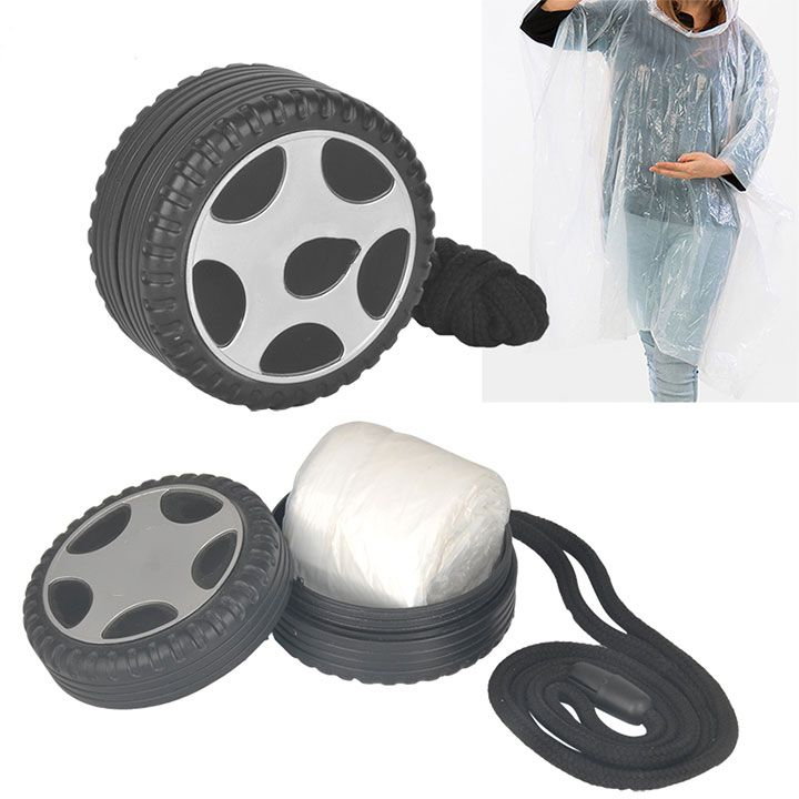 Exclusive Promotional Disposable Rain Poncho Raincoat In Tyre Shape Case