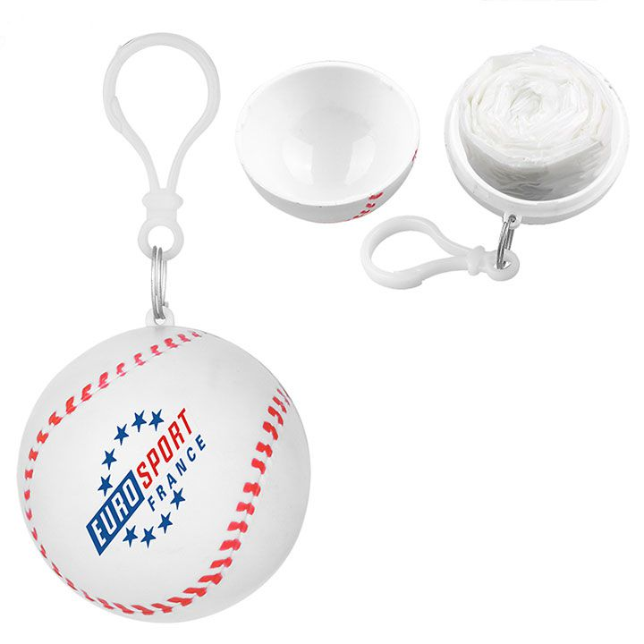 Disposable Raincoat Ball Rain Poncho In Baseball Shape Case