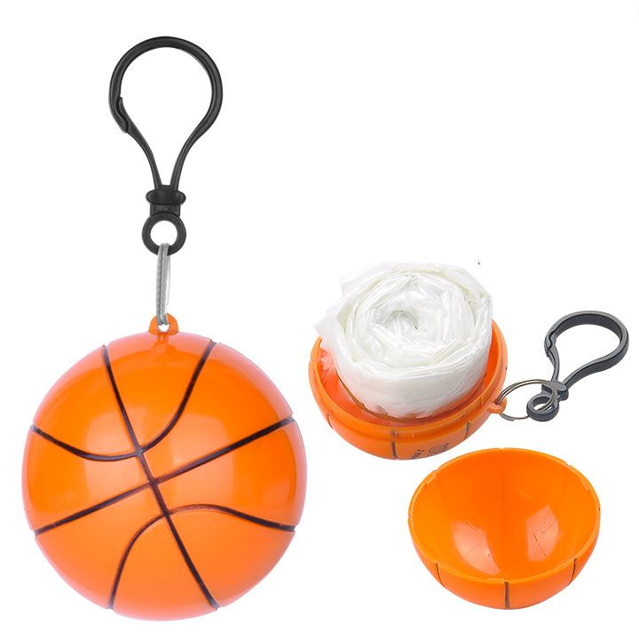 Disposable Raincoat Ball Rain Poncho In Basketball Shape Case