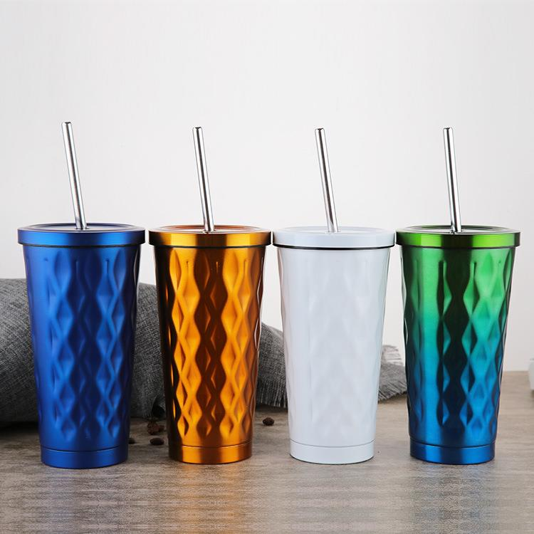 16oz BPA free Stainless Steel cup with straw