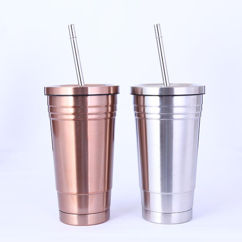 550ml Stainless Steel Straw Coffee Cup With Lid
