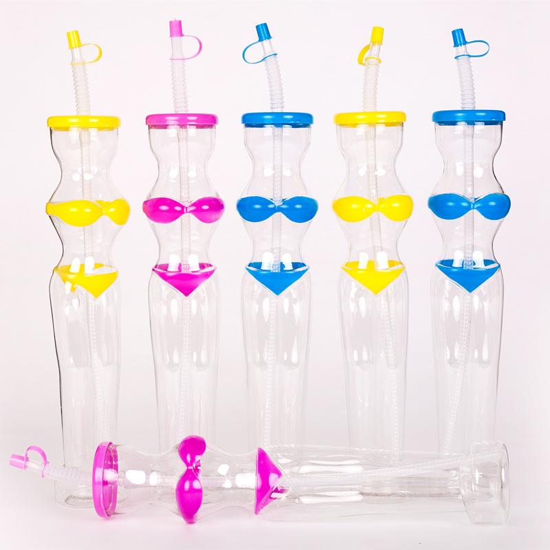 Plastic Party Glass Yard Juice Straw Cups