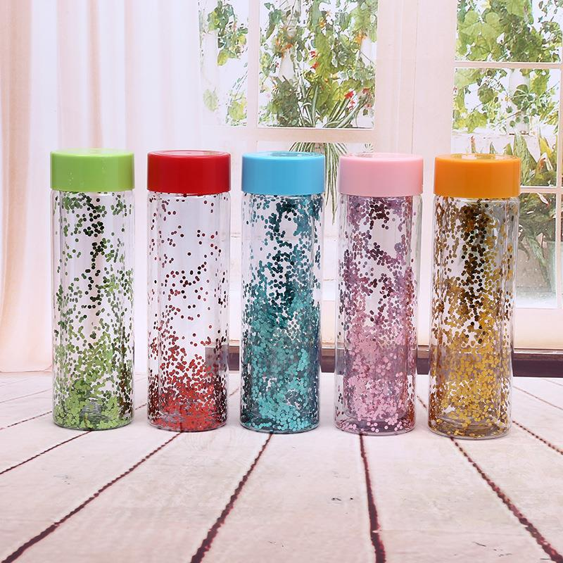 550ML Double Wall BPA Free Glitter Plastic Drinking Water Bottle