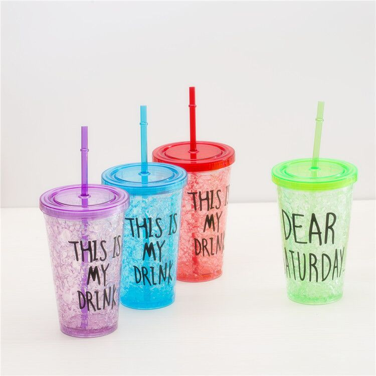 Double wall plastic cold drink water bottle