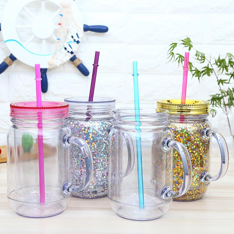 double wall round shape glitter Plastic mason jar drinking jar with and without handle