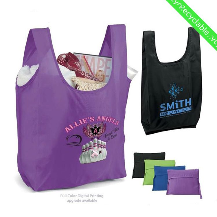 Nylon Foldable Reusable Grocery Shopping Tote fashion bag