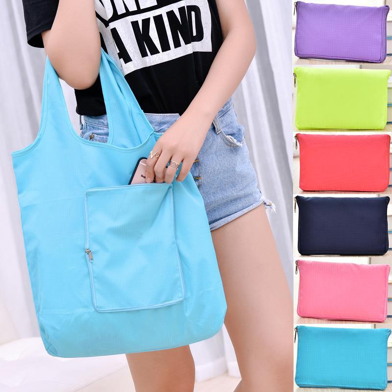 Washable bags nylon foldable reusable shopping bag