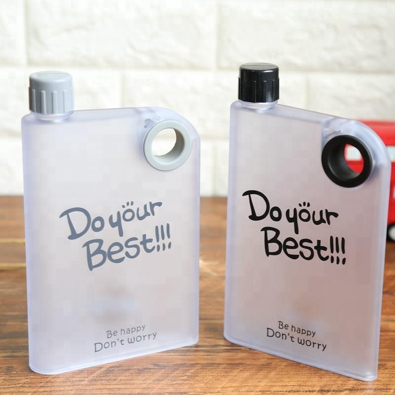 Plastic Notebook Flat Portable Drink Slim Water Bottle
