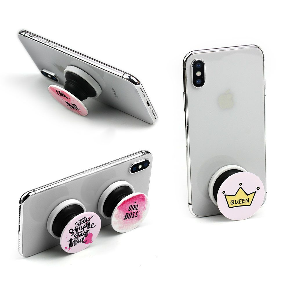Custom Pop Expanding Socket Phone Socket Pop Grip Stand Sockets With Metal Piece For Mobile Phones Car Holder