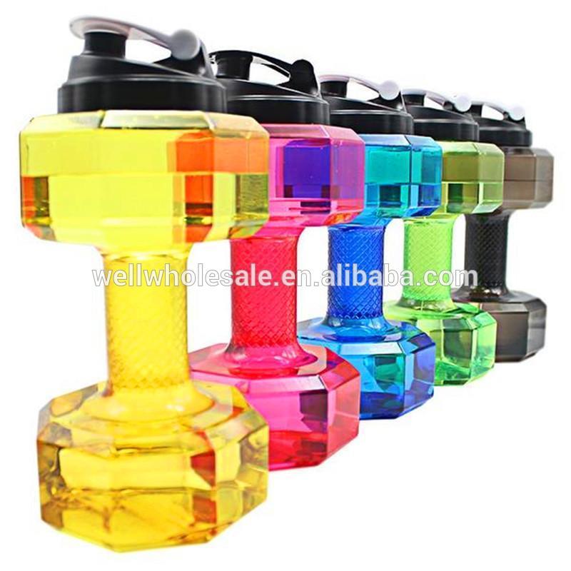 Water Jug 2.2L Dumbbell Shape Water Bottle,Big capacity body building plastic water jug