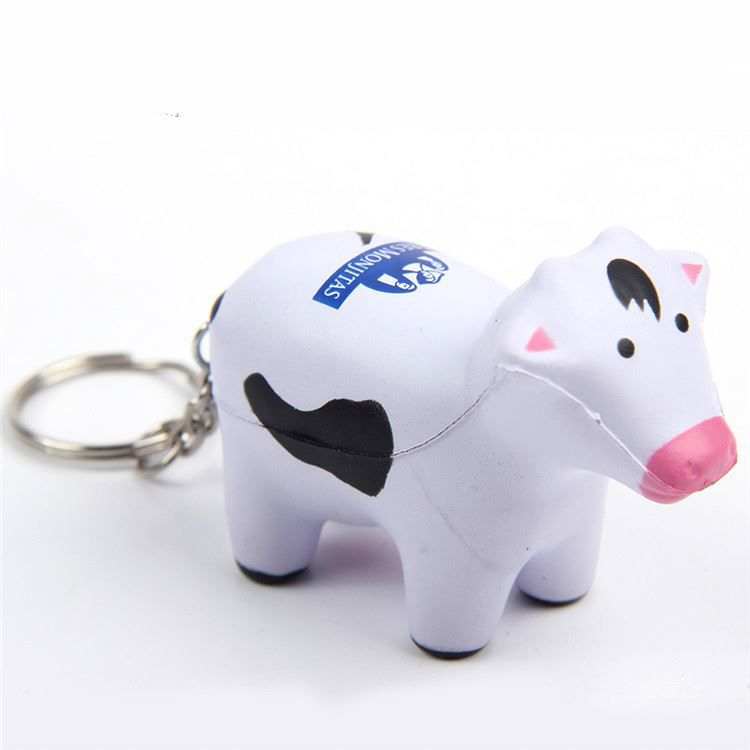 Cow PU Stress Ball keychain with customized LogoCow PU Stress Ball keychain with customized Logo
