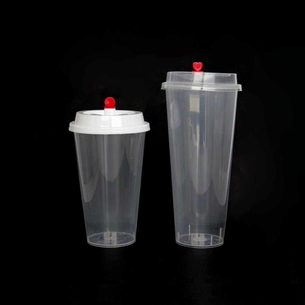 700ml PP plastic cup with lid and red heart