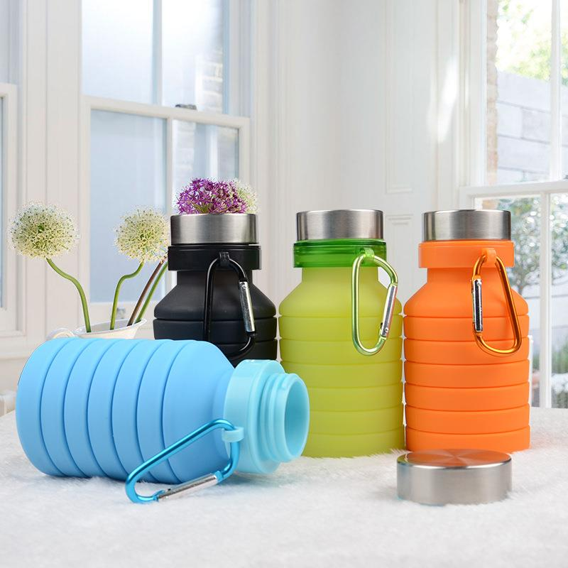 2018 Amazon hot selling outdoor foldable collapsible silicone water bottle with custom logo