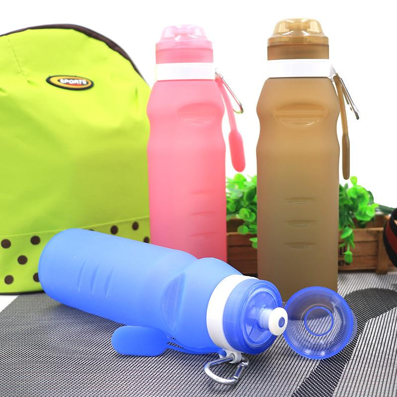 Custom Logo Portable Leak-proof Foldable Collapsible Silicone Travel Water Bottle